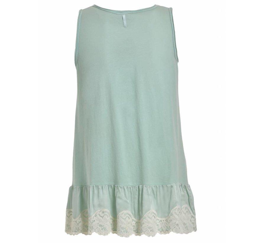 Shirt mit Spitze - clear water green