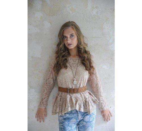 Jeanne d`Arc Living Spitzenbluse | Pure glory - Antique rose-brown