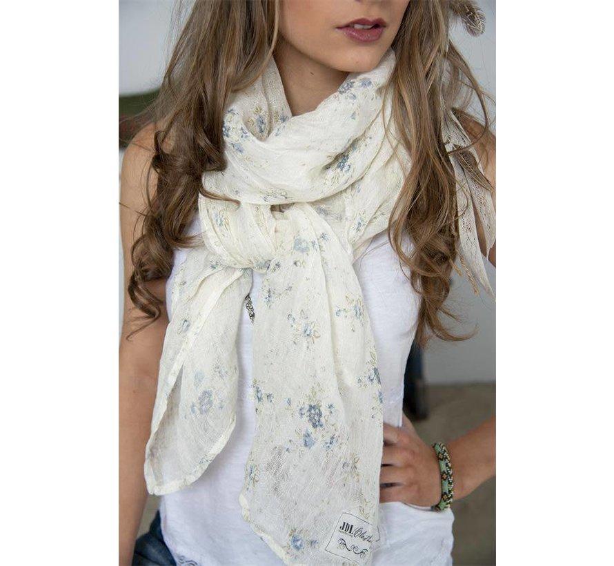 Schal | Sweet temptations - White/blue floral