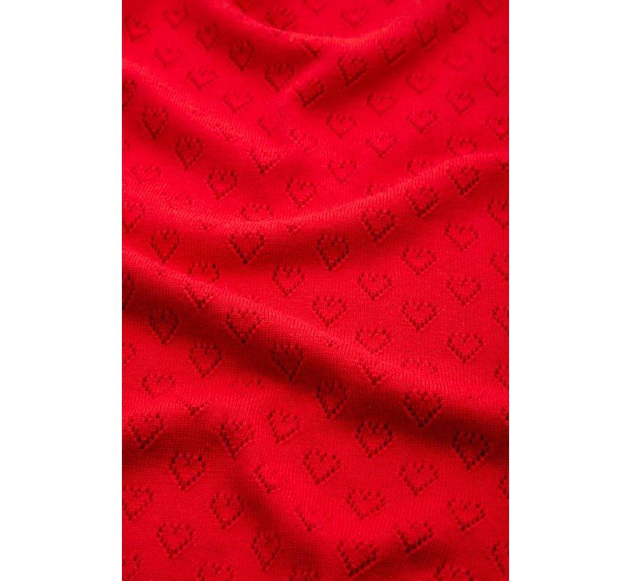 Cardigan   Cardi V Heart Ajour - Red