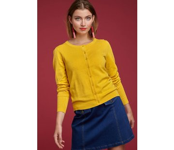 King Louie Cardigan | Cardi Roundneck Droplet - Mimosa Yellow