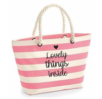 "Enchanté Strandtasche ""lovely things"" | Rosa White Stripes"