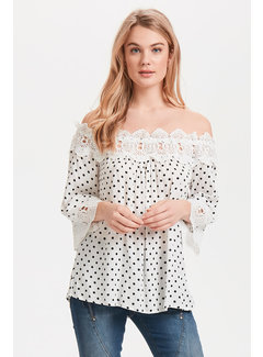 Cream Clothing Bluse | Bea Dot Blouse - Chalk