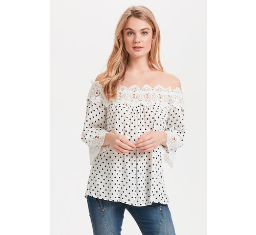 Cream Clothing Bluse | Bea Dot Blouse - Chalk