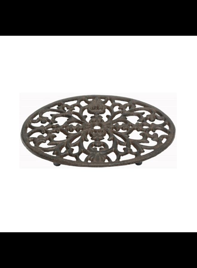 Pfannenuntersetzer Oval aus Gusseisen in Vintage Braun
