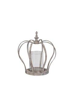 Windlicht Krone mit Glaseinsatz - Shabby Chic
