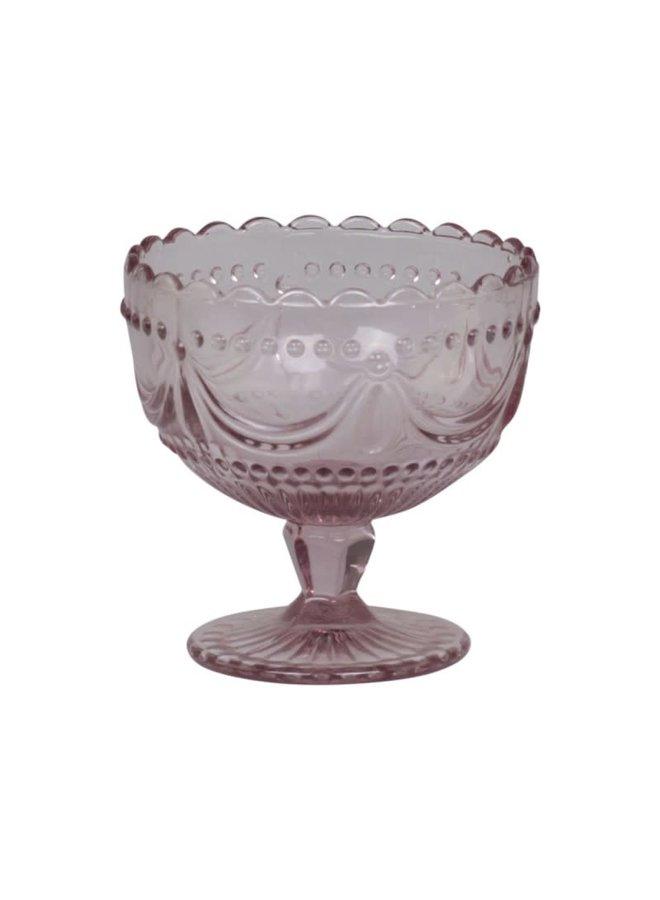 Coupeglas Rosa mit Spitzenkante