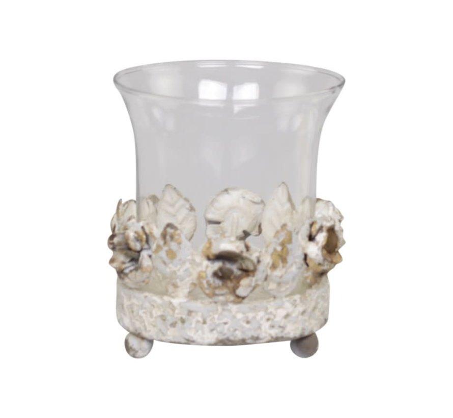 """Teelichthalter """"Rose de Provence"""" mit Glas"""