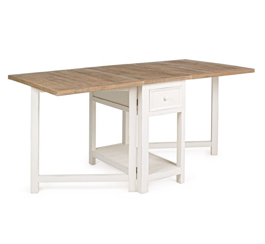 Küchentisch faltbar Tinnum   Landhausmöbel - Cremeweiss