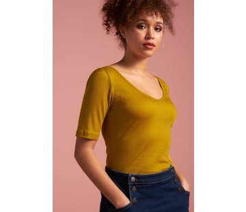 King Louie T-Shirt | Carice V Top Tencel Rib -  Curry Yellow