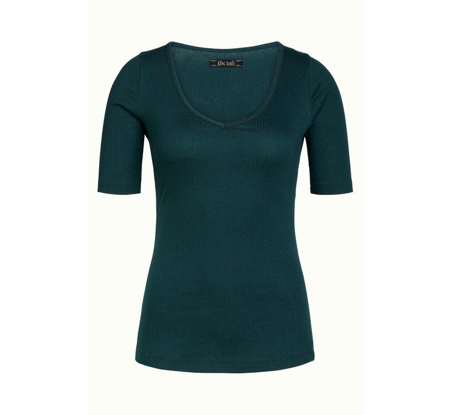 T-Shirt | Carice V Top Tencel Rib - Pine Green