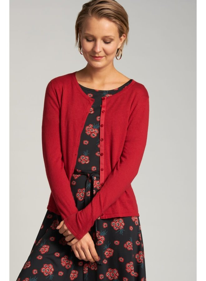Cardigan | Cardi Roundneck Cocoon - Icon Red