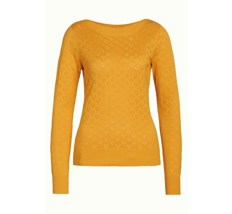 Pullover | Audrey Top Heart Ajour - Honey Yellow