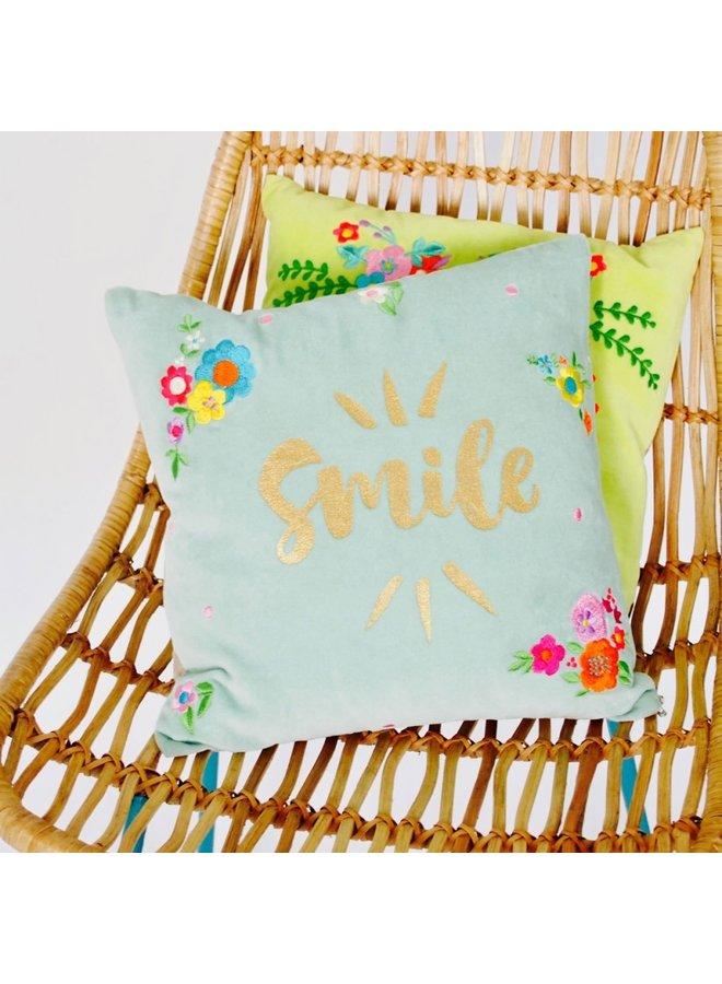 Dekokissen Smile - Samt mit Stickerei