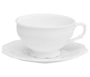 Chic Antique Grosse Tasse mit Unterteller | Provence | Weiss