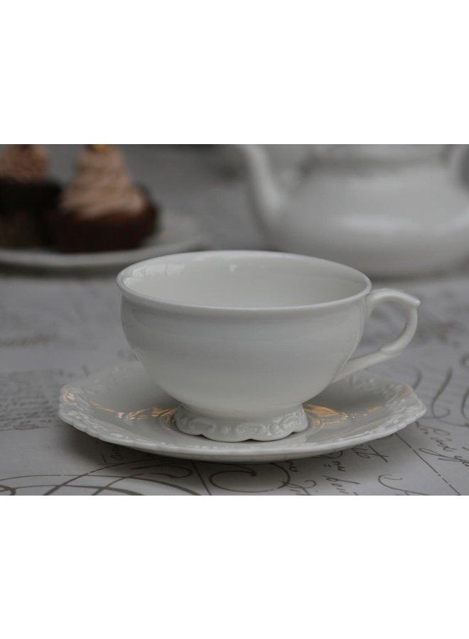 Grosse Tasse mit Unterteller Provence - Porzellan Weiss