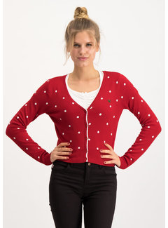 Blutsgeschwister Strickcardigan | powerdots cardigan - super red dot