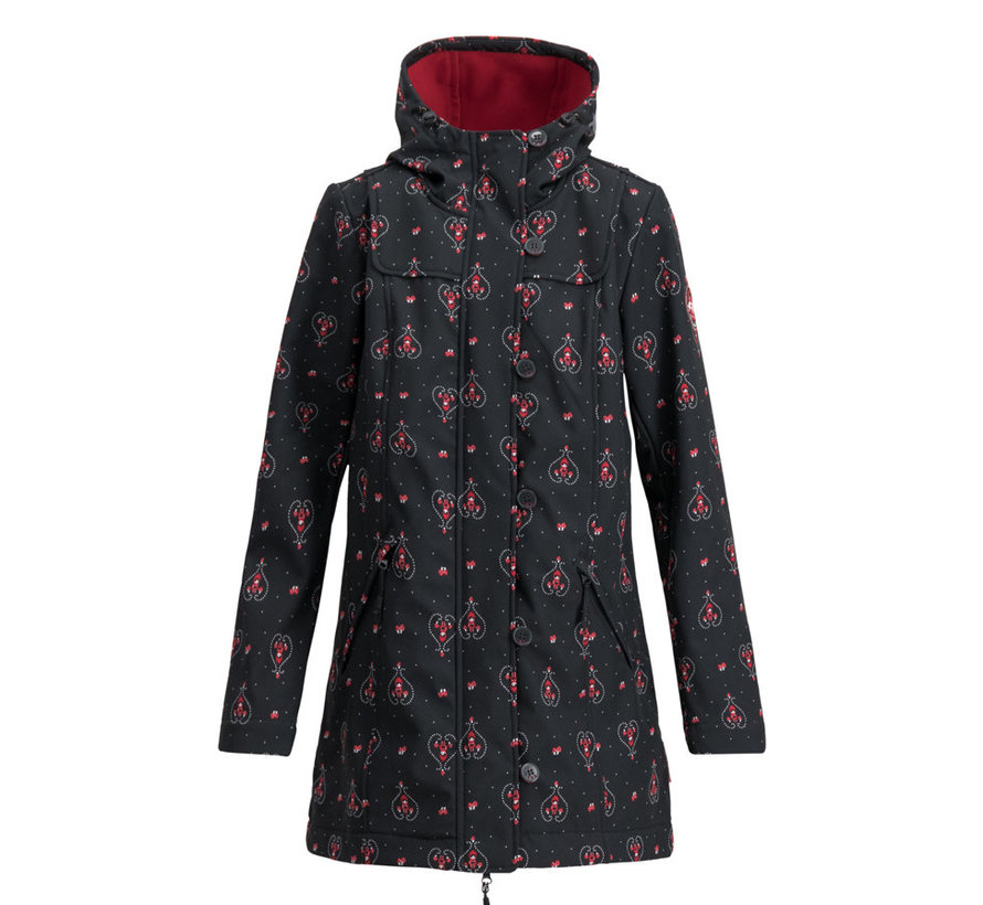 Softshell-Parka | wild weather long anorak - red hood