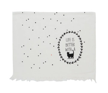 "Clayre & Eef Gästetuch ""Live is better with a Cat"" 