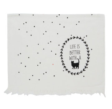 """Clayre & Eef Gästetuch """"Live is better with a Cat"""" 