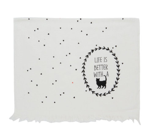 """Clayre & Eef Gästetuch """"Live is better with a Cat""""   40x60 cm"""