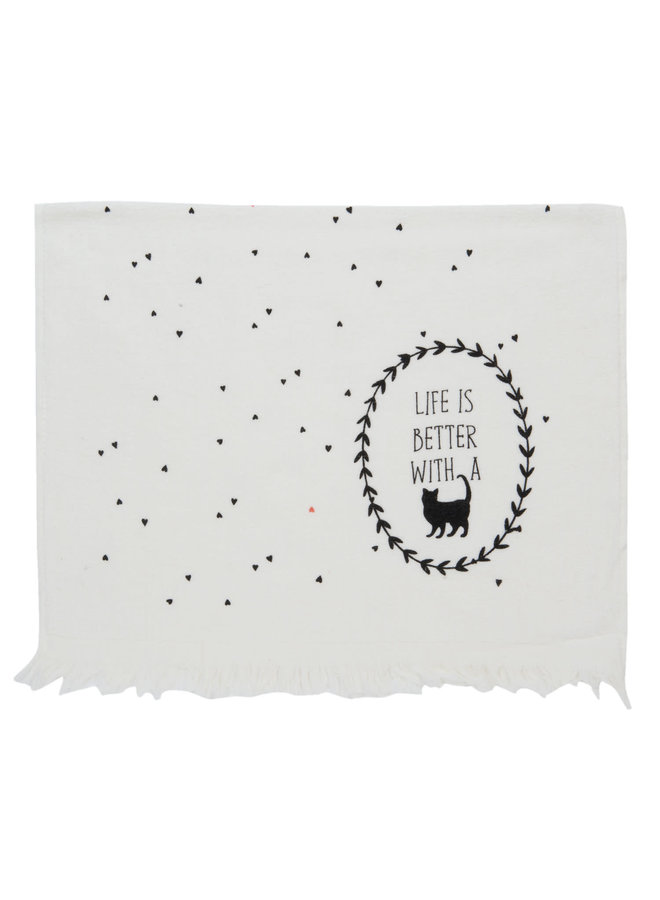 """Gästetuch """"Live is better with a Cat""""   40x60 cm"""
