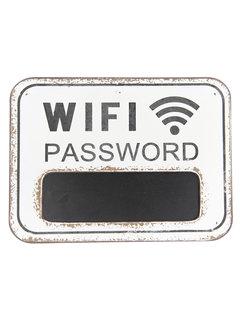 Clayre & Eef Holzschild mit Kreidentafel - WIFI Password - Weiss