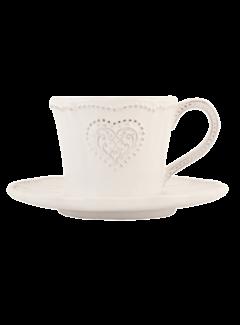Clayre & Eef Kaffeetasse mit Unterteller Provence - Heart - Weiss