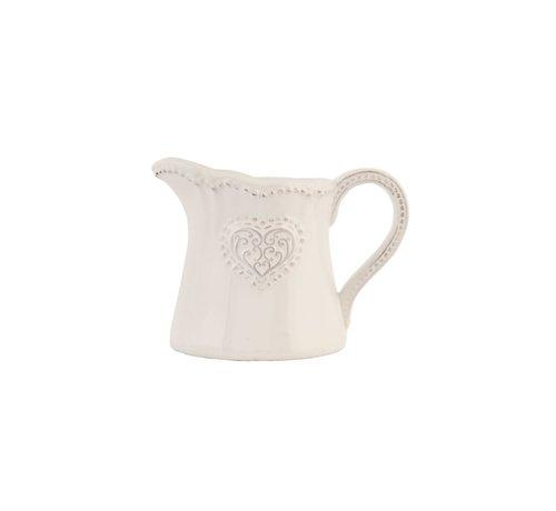 Clayre & Eef Milchkännchen Provence - Heart - Weiss