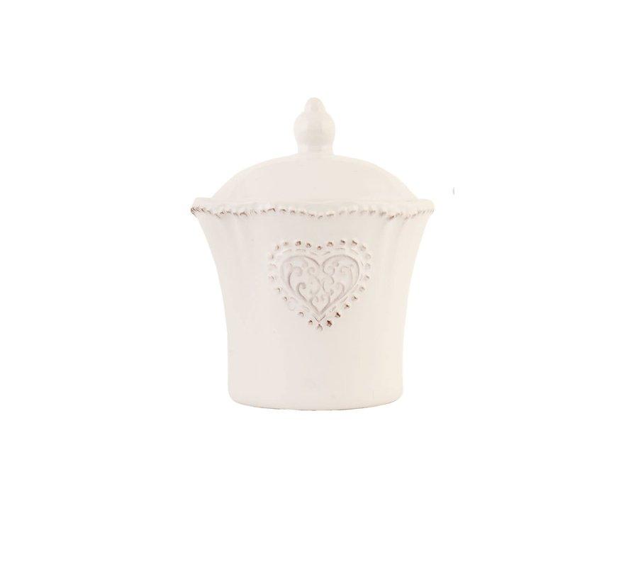 Zuckerdose mit Deckel Provence - Heart - Weiss
