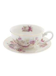 "Clayre & Eef Teetasse mit Unterteller ""Roses"" | 100% Porzellan"