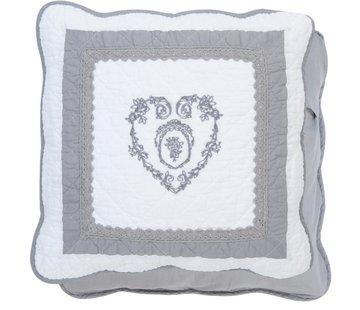 "Clayre & Eef Kissenhülle ""Grey Heart"" - 40 x 40 cm - Baumwolle"