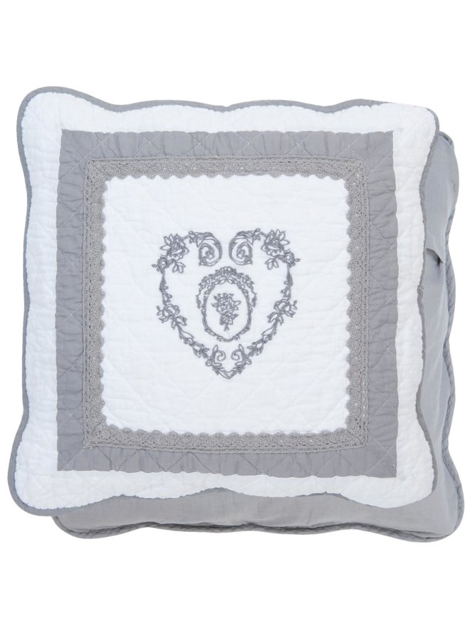 "Kissenhülle ""Grey Heart"" - 40 x 40 cm - Baumwolle"