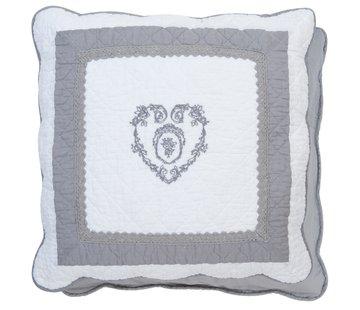 "Clayre & Eef Kissenhülle ""Grey Heart"" - 50 x 50 cm - Baumwolle"
