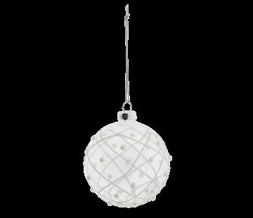 Clayre & Eef Christbaumkugeln 4er Set - Glas transparent mit Perlen