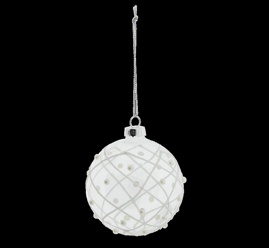 Christbaumkugeln 4er Set - Glas transparent mit Perlen