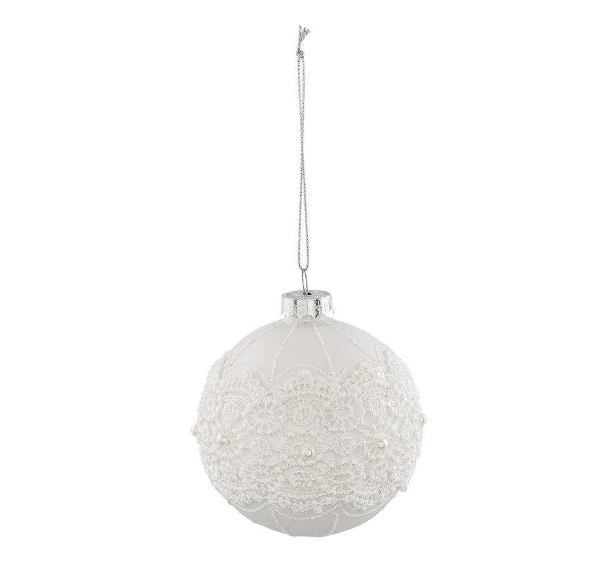 Christbaumkugel - Glas weiss mit Perlen und Spitzen
