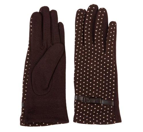 Clayre & Eef Handschuhe - Braun mit weissen Punkten