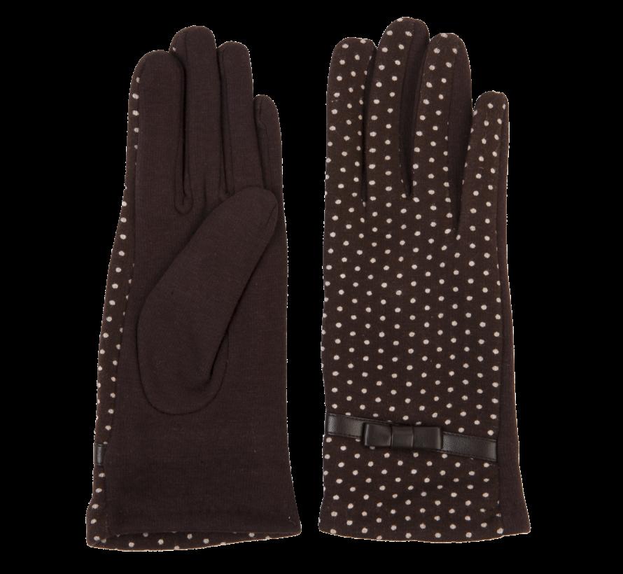 Handschuhe - Braun mit weissen Punkten