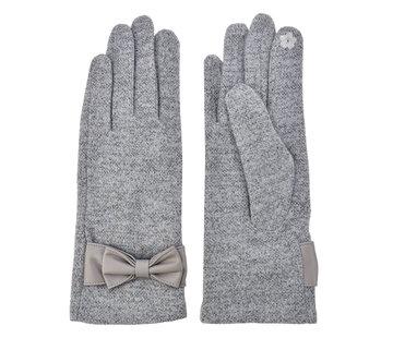 Clayre & Eef Handschuhe - Grau mit Masche und Smartphone Touch