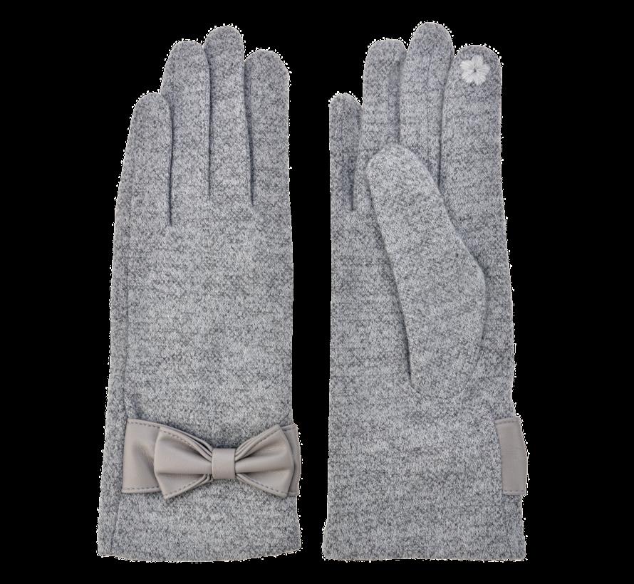 Handschuhe - Grau mit Masche und Smartphone Touch