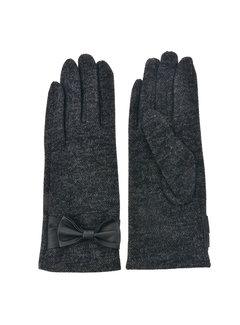 Clayre & Eef Handschuhe - Dunkelgrau mit Masche und Smartphone Touch