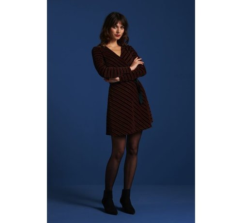 King Louie Kleid | Wrap Dress Nikki Stripe - Pine Green