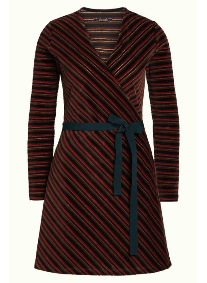 Kleid | Wrap Dress Nikki Stripe - Pine Green