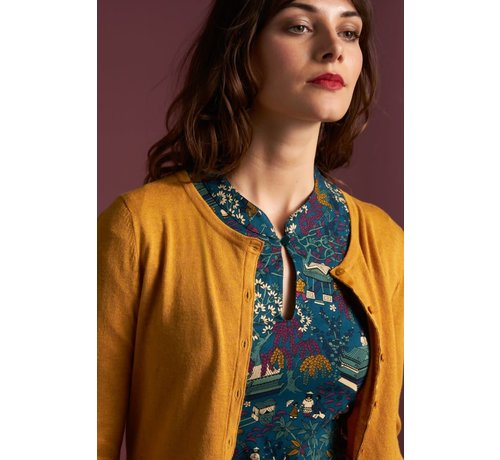 King Louie Cardigan | Cardi Roundneck Cocoon - Honey Yellow