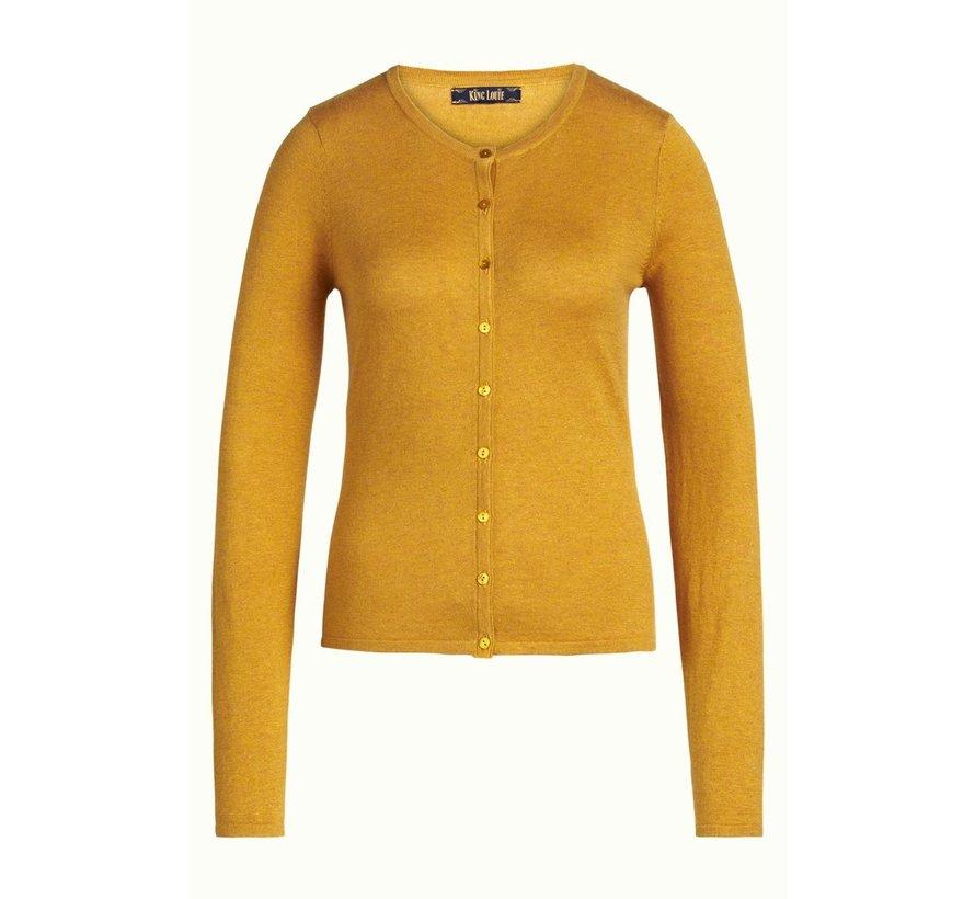 Cardigan | Cardi Roundneck Cocoon - Honey Yellow
