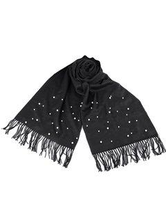 Enchanté Schal mit Perlen und Frasen - Schwarz