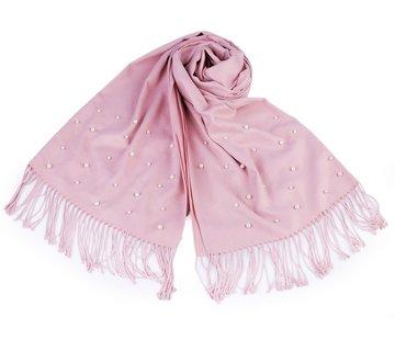 Enchanté Schal mit Perlen und Frasen - Rosa