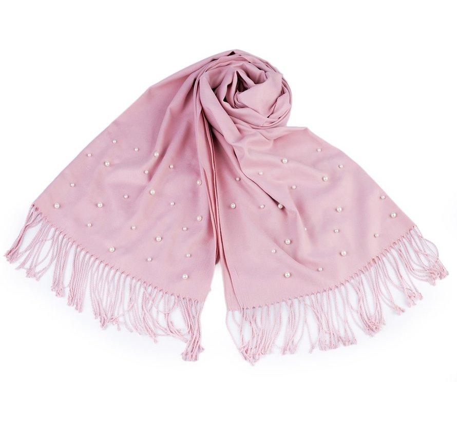 Schal mit Perlen und Frasen - Rosa