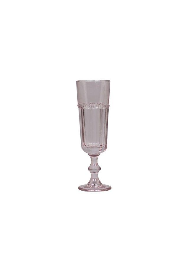 Champagnerglas Antoinette mit Perlenkante - Rosa
